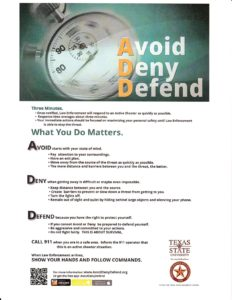 Avoid, Deny, Defend--What To Do If You Encounter an Active Shooter
